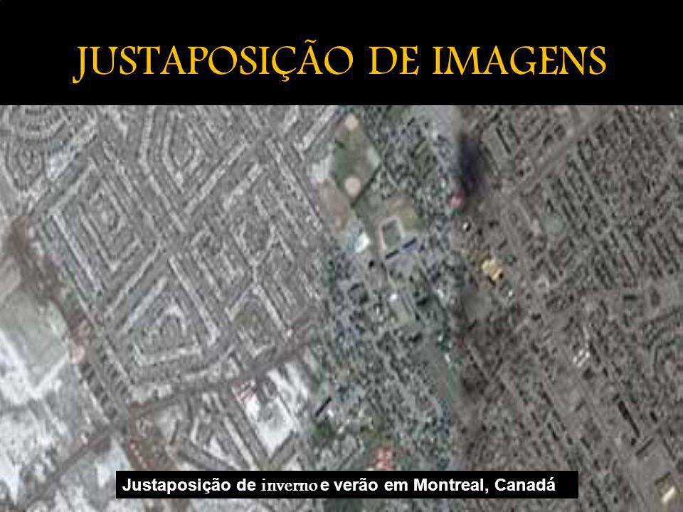 JUSTAPOSIÇÃO DE IMAGENS Justaposição de inverno e verão em Montreal, Canadá