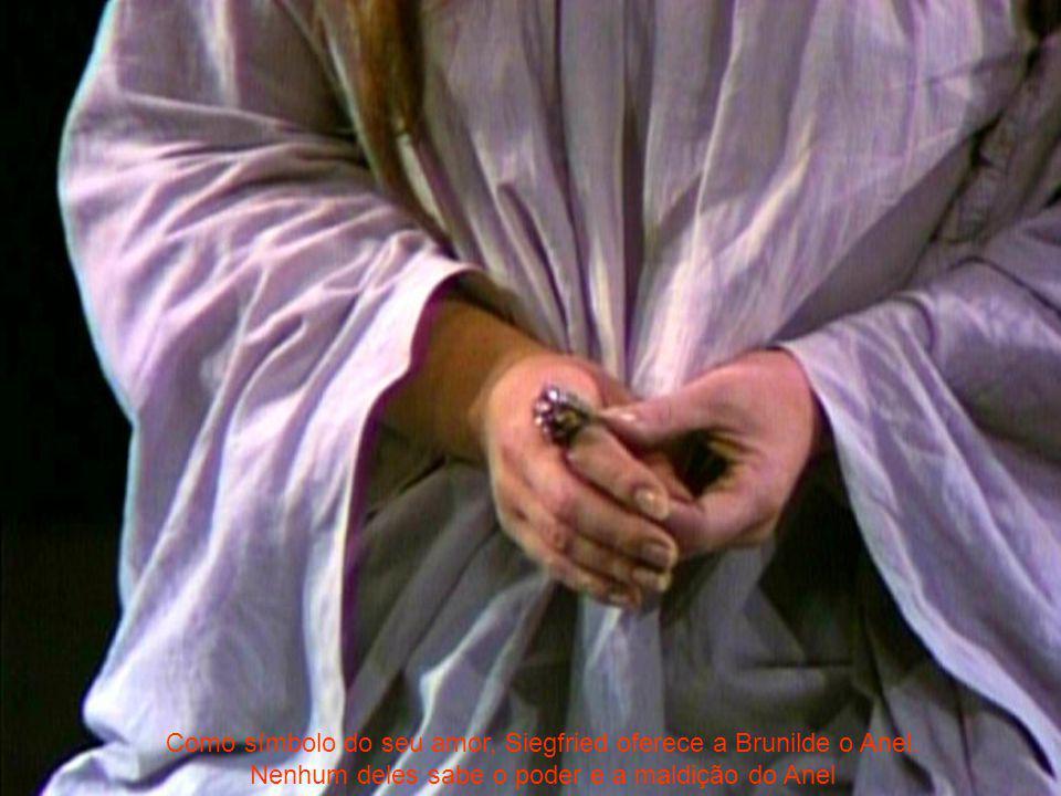 Como símbolo do seu amor, Siegfried oferece a Brunilde o Anel. Nenhum deles sabe o poder e a maldição do Anel