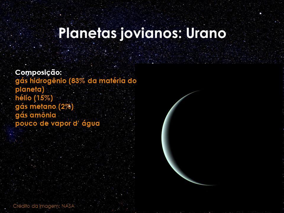Planetas jovianos: Urano Crédito da imagem: NASA Composição: gás hidrogênio (83% da matéria do planeta) hélio (15%) gás metano (2%) gás amônia pouco d