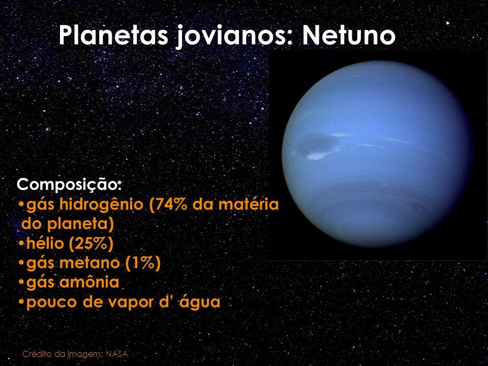 Planetas jovianos: Netuno Composição: gás hidrogênio (74% da matéria do planeta) hélio (25%) gás metano (1%) gás amônia pouco de vapor d água Crédito