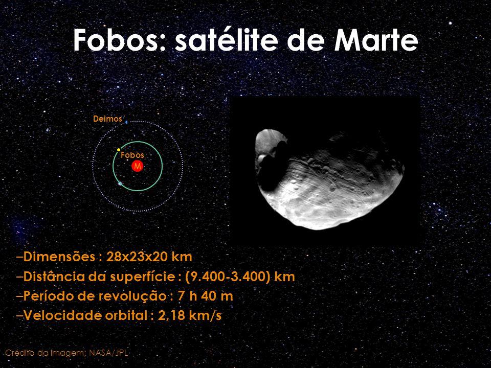 – Dimensões : 28x23x20 km – Distância da superfície : (9.400-3.400) km – Período de revolução : 7 h 40 m – Velocidade orbital : 2,18 km/s Fobos: satél