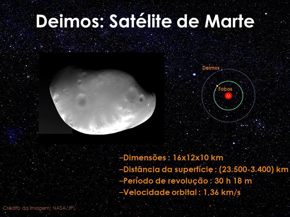 Deimos: Satélite de Marte – Dimensões : 16x12x10 km – Distância da superfície : (23.500-3.400) km – Período de revolução : 30 h 18 m – Velocidade orbi