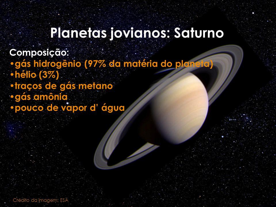 Planetas jovianos: Saturno Crédito da imagem: ESA Composição: gás hidrogênio (97% da matéria do planeta) hélio (3%) traços de gás metano gás amônia po