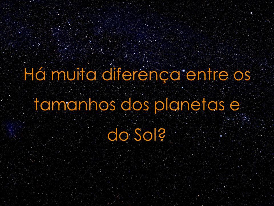 Há muita diferença entre os tamanhos dos planetas e do Sol?