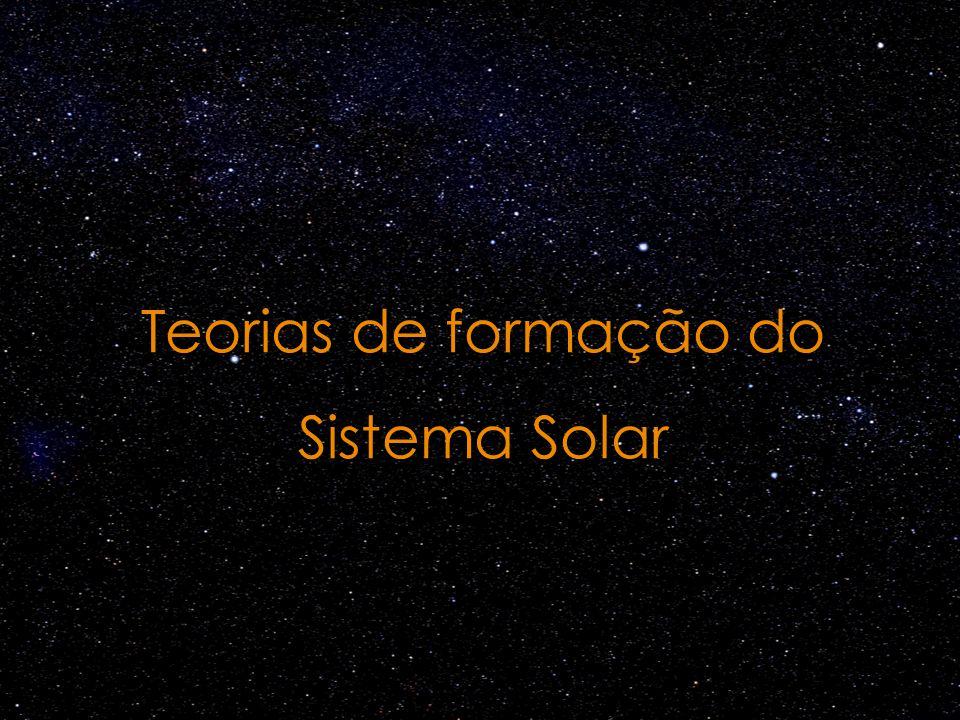 Teorias de captura Teoria nebular: mais aceita O Sol e os planetas se formaram a partir de uma nuvem de gás e poeira Crédito da imagem: http://hubblesite.org