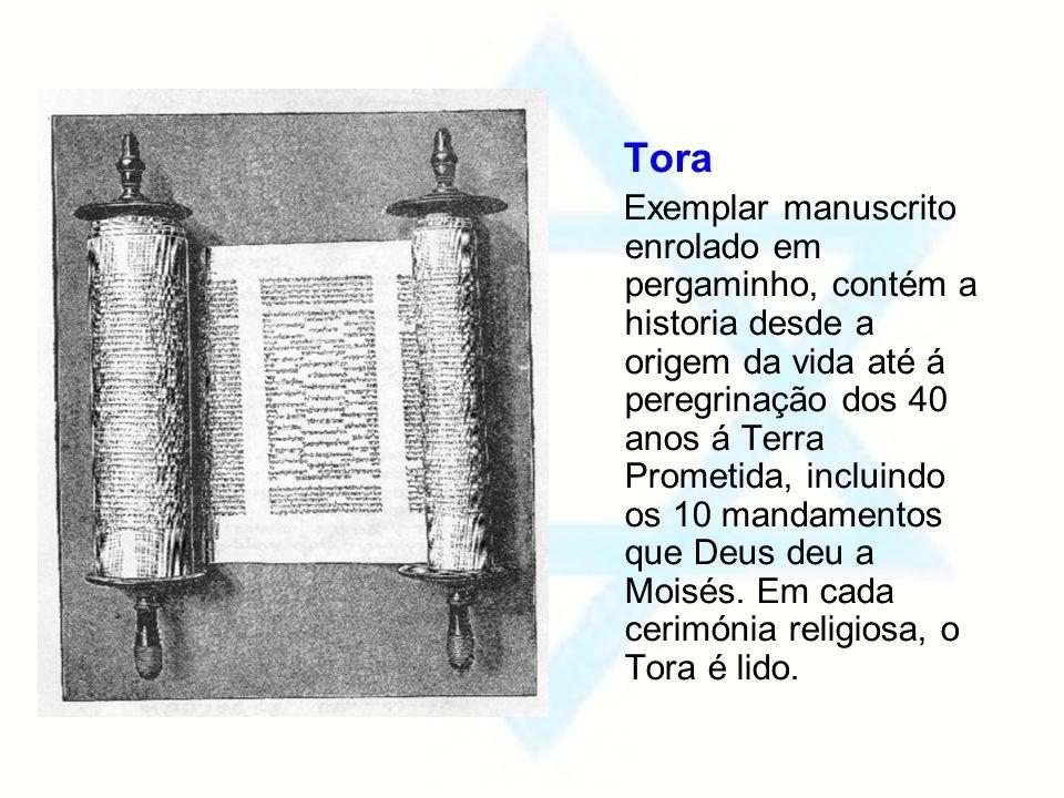 Tora Exemplar manuscrito enrolado em pergaminho, contém a historia desde a origem da vida até á peregrinação dos 40 anos á Terra Prometida, incluindo