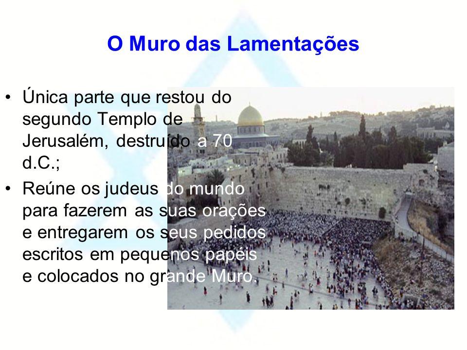 O Muro das Lamentações Única parte que restou do segundo Templo de Jerusalém, destruído a 70 d.C.; Reúne os judeus do mundo para fazerem as suas oraçõ