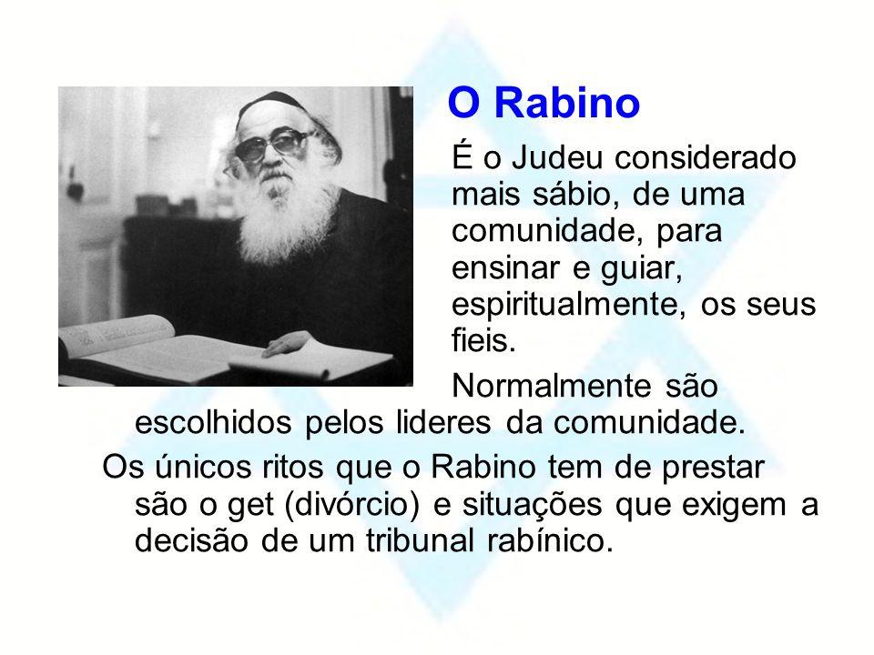 O Rabino É o Judeu considerado mais sábio, de uma comunidade, para ensinar e guiar, espiritualmente, os seus fieis. Normalmente são escolhidos pelos l