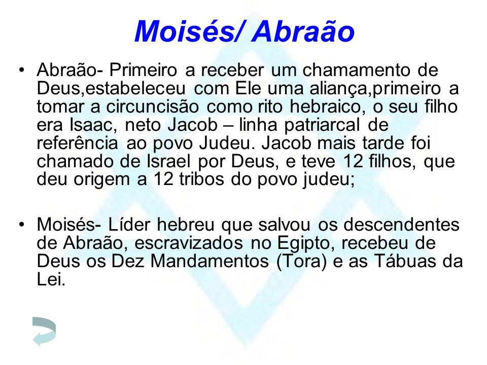 Moisés/ Abraão Abraão- Primeiro a receber um chamamento de Deus,estabeleceu com Ele uma aliança,primeiro a tomar a circuncisão como rito hebraico, o s