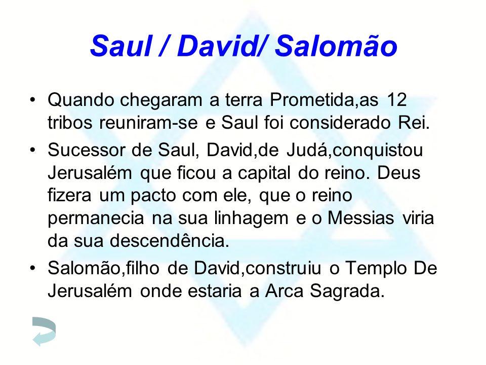 Saul / David/ Salomão Quando chegaram a terra Prometida,as 12 tribos reuniram-se e Saul foi considerado Rei. Sucessor de Saul, David,de Judá,conquisto