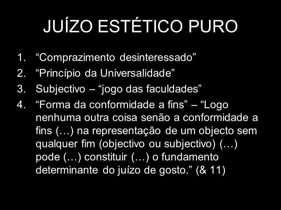 JUÍZO ESTÉTICO PURO 1.Comprazimento desinteressado 2.Princípio da Universalidade 3.Subjectivo – jogo das faculdades 4.Forma da conformidade a fins – L