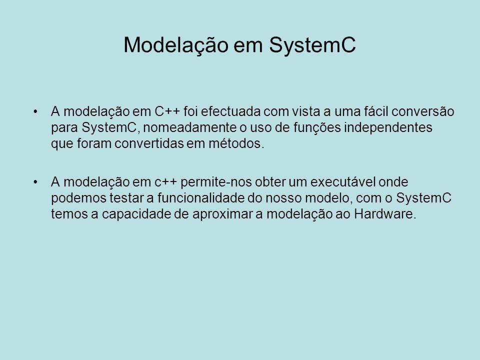 Modelação em SystemC A modelação em C++ foi efectuada com vista a uma fácil conversão para SystemC, nomeadamente o uso de funções independentes que fo