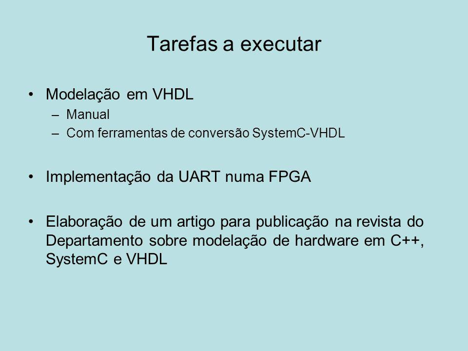 Tarefas a executar Modelação em VHDL –Manual –Com ferramentas de conversão SystemC-VHDL Implementação da UART numa FPGA Elaboração de um artigo para p