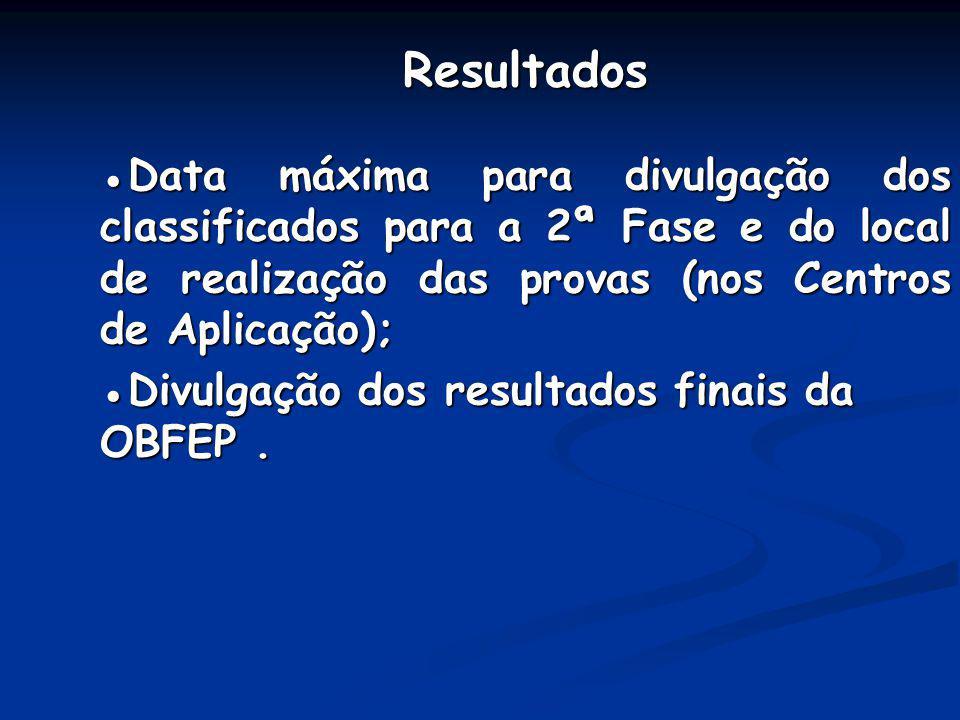 Resultados Data máxima para divulgação dos classificados para a 2ª Fase e do local de realização das provas (nos Centros de Aplicação); Divulgação dos