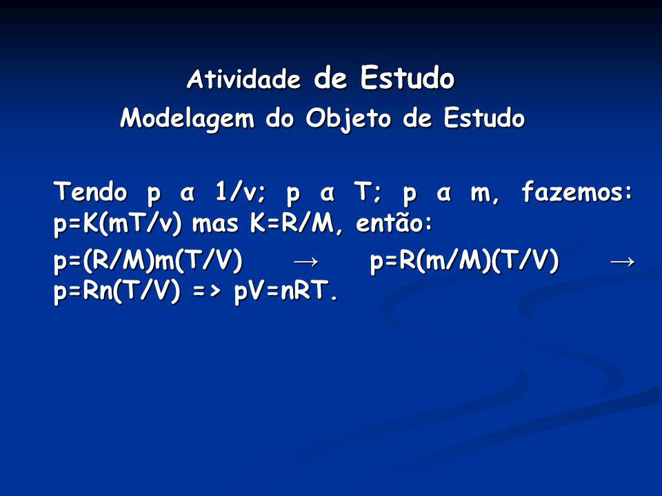 Atividade de Estudo Modelagem do Objeto de Estudo Tendo p α 1/v; p α T; p α m, fazemos: p=K(mT/v) mas K=R/M, então: p=(R/M)m(T/V) p=R(m/M)(T/V) p=Rn(T