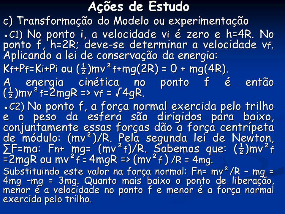 Ações de Estudo c) Transformação do Modelo ou experimentação C1) No ponto i, a velocidade v i é zero e h=4R. No ponto f, h=2R; deve-se determinar a ve