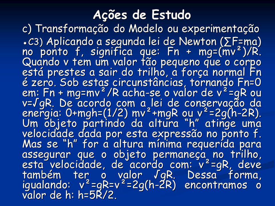 Ações de Estudo c) Transformação do Modelo ou experimentação C3) Aplicando a segunda lei de Newton (F=ma) no ponto f, significa que: Fn + mg=(mv²)/R.