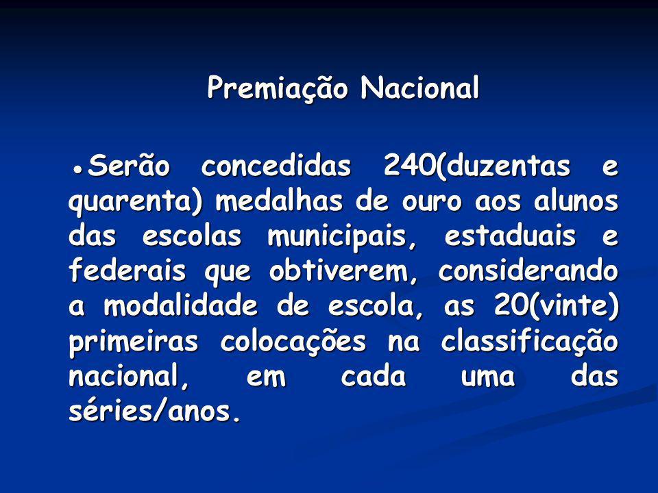 Premiação Nacional Premiação Nacional Serão concedidas 240(duzentas e quarenta) medalhas de ouro aos alunos das escolas municipais, estaduais e federa