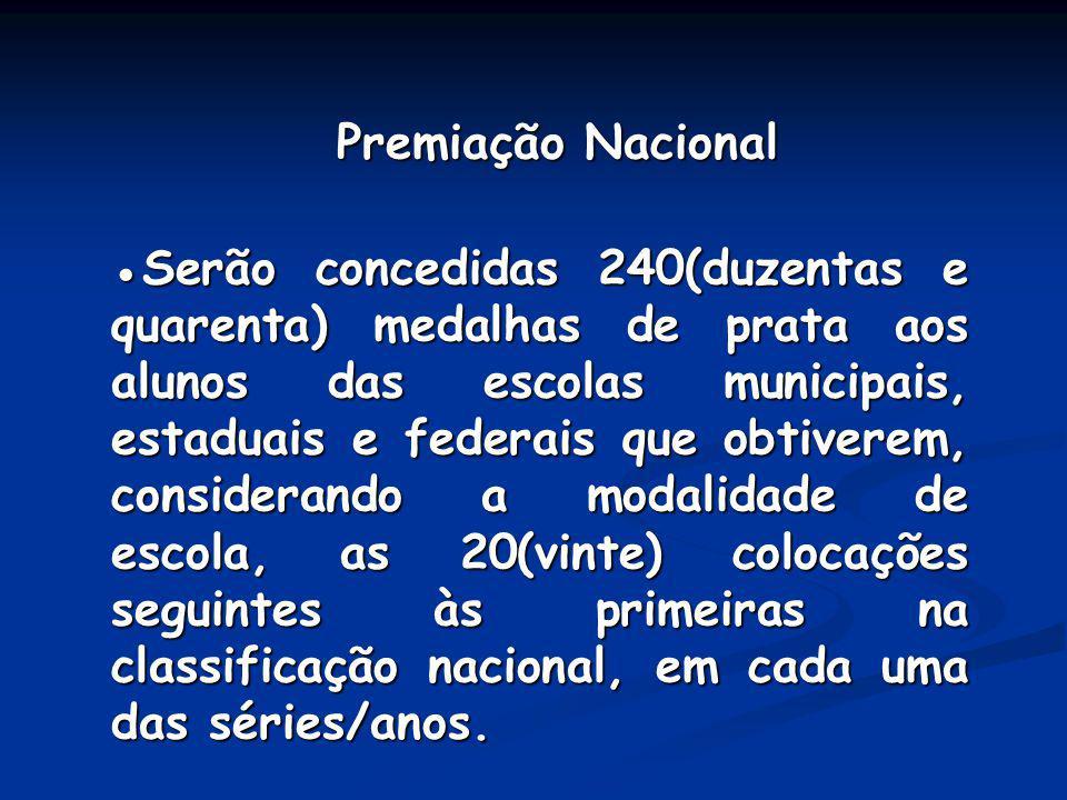 Premiação Nacional Premiação Nacional Serão concedidas 240(duzentas e quarenta) medalhas de prata aos alunos das escolas municipais, estaduais e feder