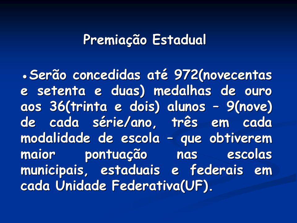 Premiação Estadual Premiação Estadual Serão concedidas até 972(novecentas e setenta e duas) medalhas de ouro aos 36(trinta e dois) alunos – 9(nove) de