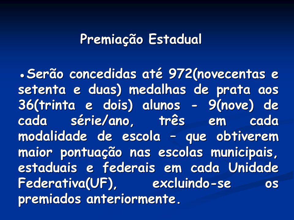 Premiação Estadual Premiação Estadual Serão concedidas até 972(novecentas e setenta e duas) medalhas de prata aos 36(trinta e dois) alunos - 9(nove) d