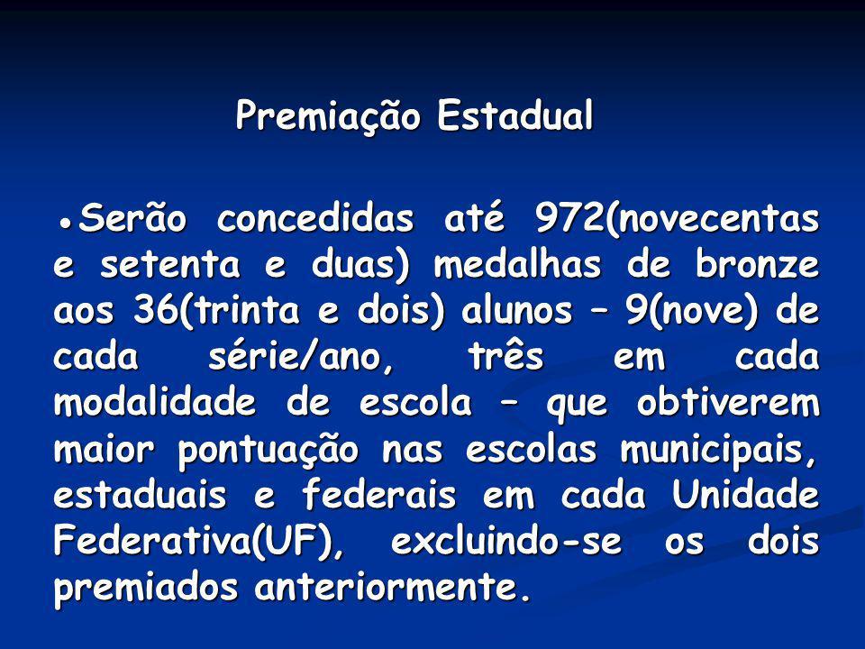 Premiação Estadual Premiação Estadual Serão concedidas até 972(novecentas e setenta e duas) medalhas de bronze aos 36(trinta e dois) alunos – 9(nove)