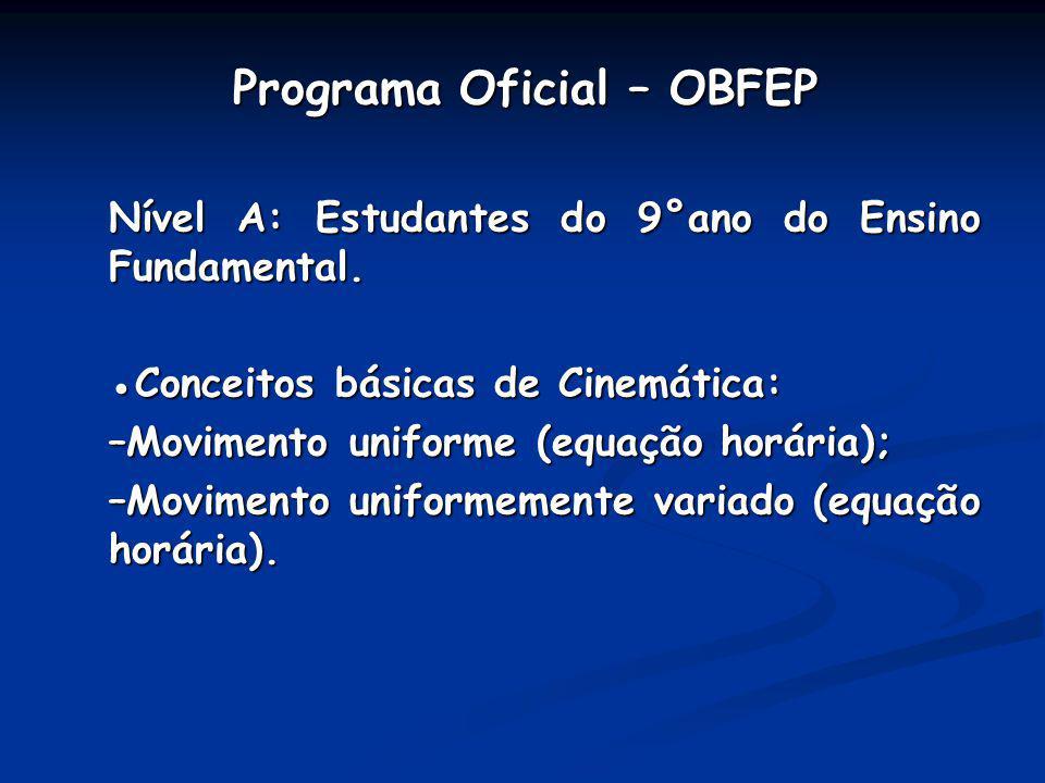 Programa Oficial – OBFEP Programa Oficial – OBFEP Nível A: Estudantes do 9°ano do Ensino Fundamental. Conceitos básicas de Cinemática: –Movimento unif