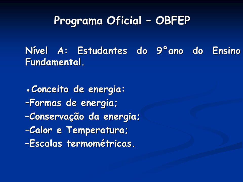 Programa Oficial – OBFEP Programa Oficial – OBFEP Nível A: Estudantes do 9°ano do Ensino Fundamental. Conceito de energia: –Formas de energia; –Conser