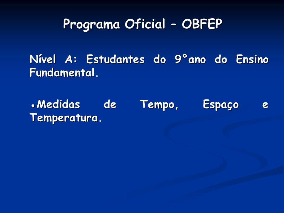 Programa Oficial – OBFEP Programa Oficial – OBFEP Nível A: Estudantes do 9°ano do Ensino Fundamental. Medidas de Tempo, Espaço e Temperatura.