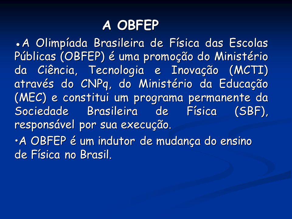 A OBFEP A Olimpíada Brasileira de Física das Escolas Públicas (OBFEP) é uma promoção do Ministério da Ciência, Tecnologia e Inovação (MCTI) através do