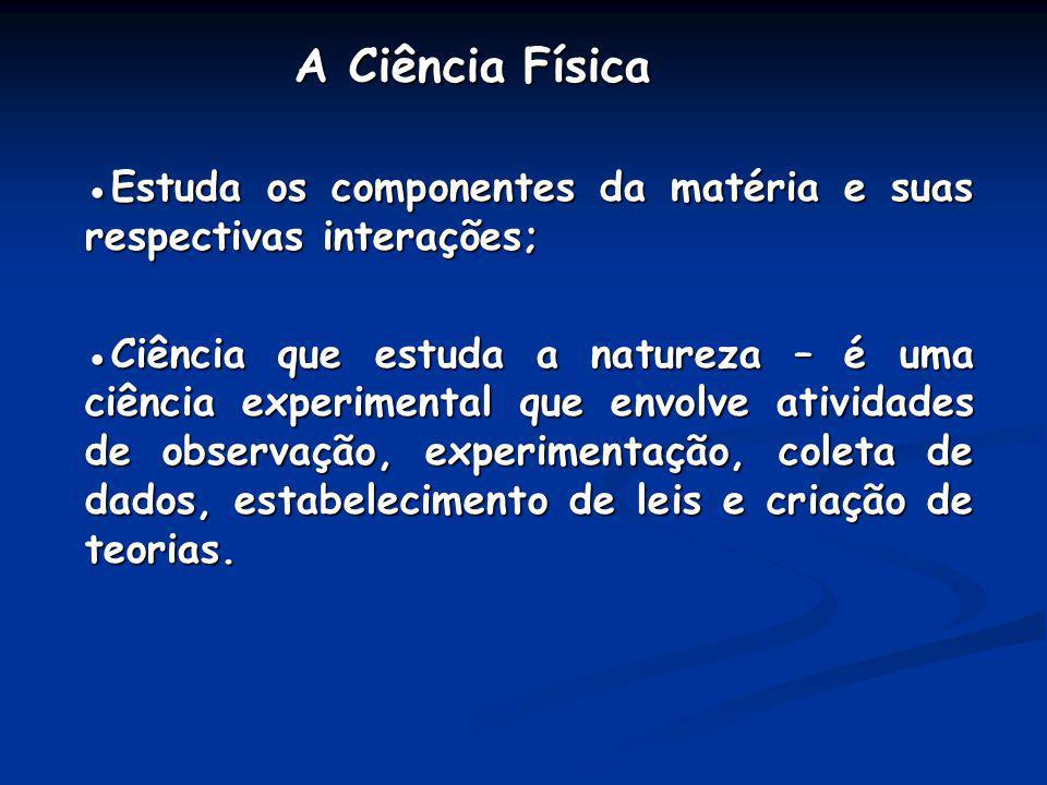 A Ciência Física A Ciência Física Estuda os componentes da matéria e suas respectivas interações;Estuda os componentes da matéria e suas respectivas i