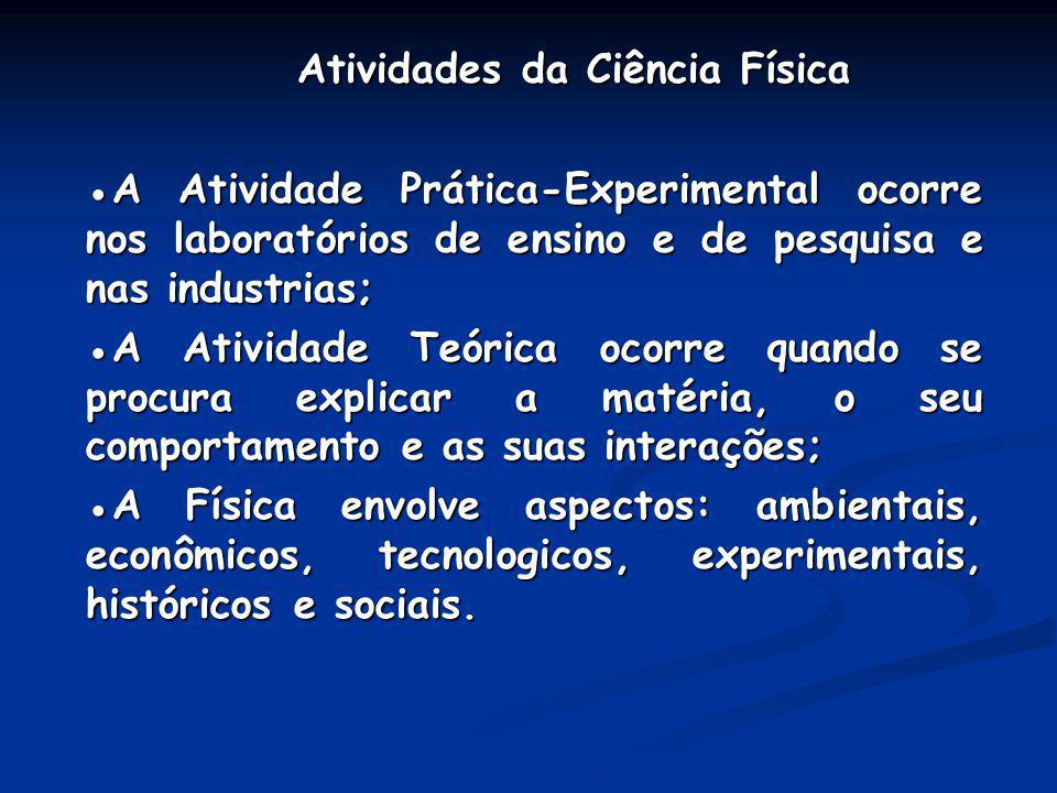 Atividades da Ciência Física Atividades da Ciência Física A Atividade Prática-Experimental ocorre nos laboratórios de ensino e de pesquisa e nas indus