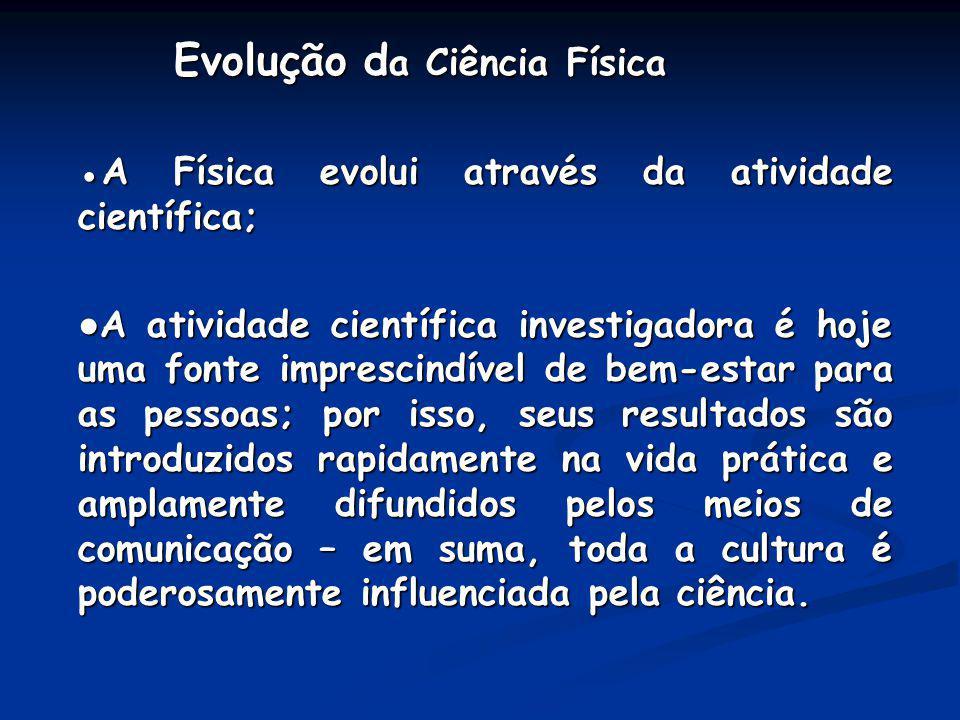 Evolução d a Ciência Física Evolução d a Ciência Física A Física evolui através da atividade científica;A Física evolui através da atividade científic