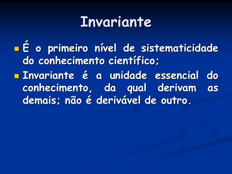 Invariante É o primeiro nível de sistematicidade do conhecimento científico; É o primeiro nível de sistematicidade do conhecimento científico; Invaria