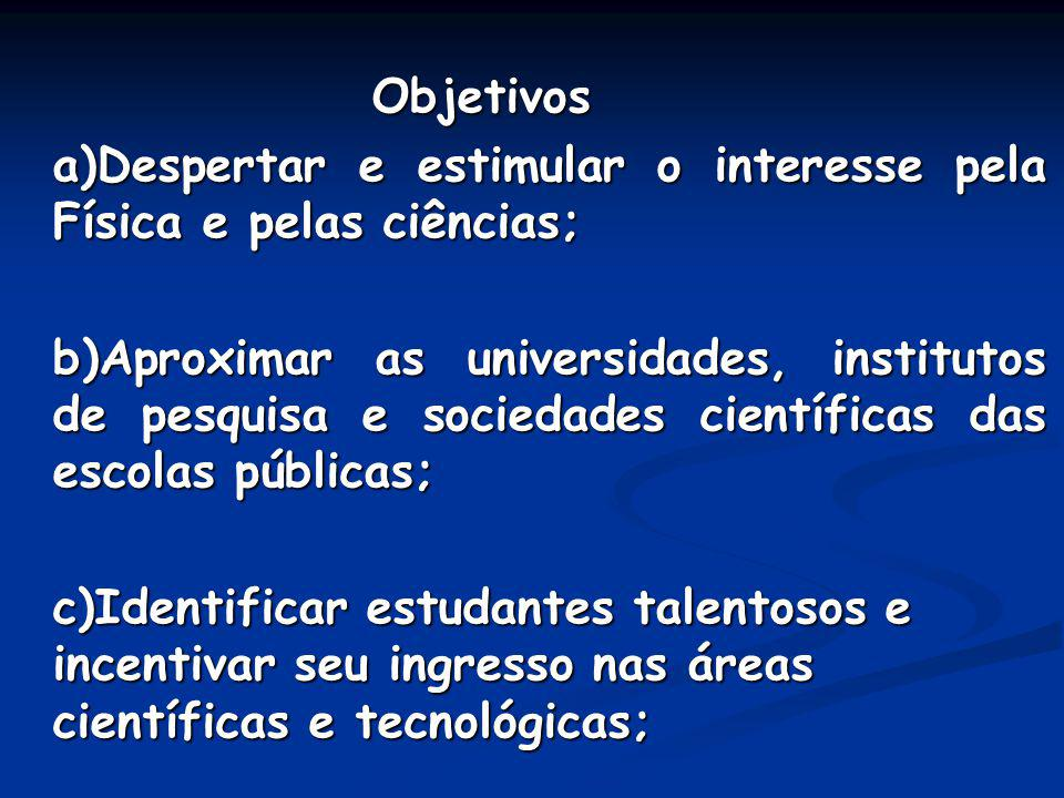 Objetivos a)Despertar e estimular o interesse pela Física e pelas ciências; b)Aproximar as universidades, institutos de pesquisa e sociedades científi