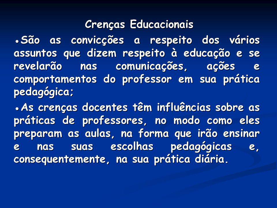 Crenças Educacionais Crenças Educacionais São as convicções a respeito dos vários assuntos que dizem respeito à educação e se revelarão nas comunicaçõ