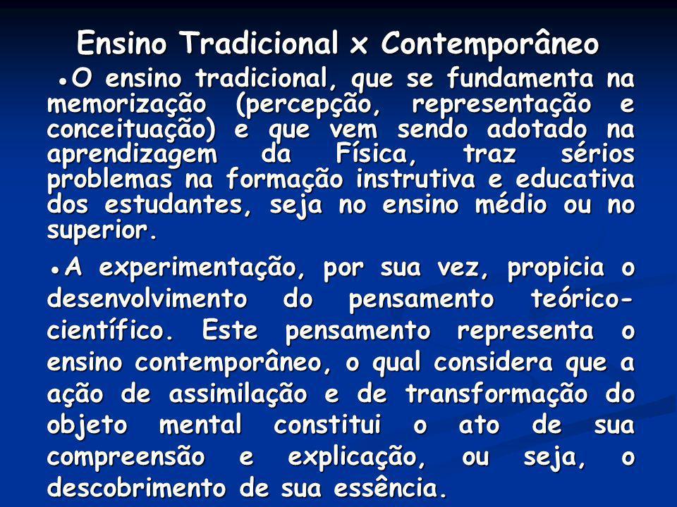 Ensino Tradicional x Contemporâneo Ensino Tradicional x Contemporâneo O ensino tradicional, que se fundamenta na memorização (percepção, representação