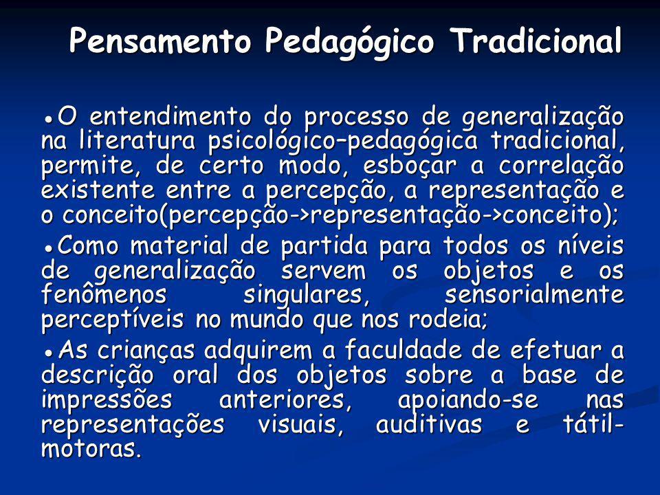 Pensamento Pedagógico Tradicional Pensamento Pedagógico Tradicional O entendimento do processo de generalização na literatura psicológico–pedagógica t