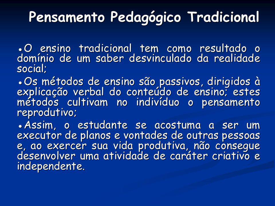 Pensamento Pedagógico Tradicional Pensamento Pedagógico Tradicional O ensino tradicional tem como resultado o domínio de um saber desvinculado da real
