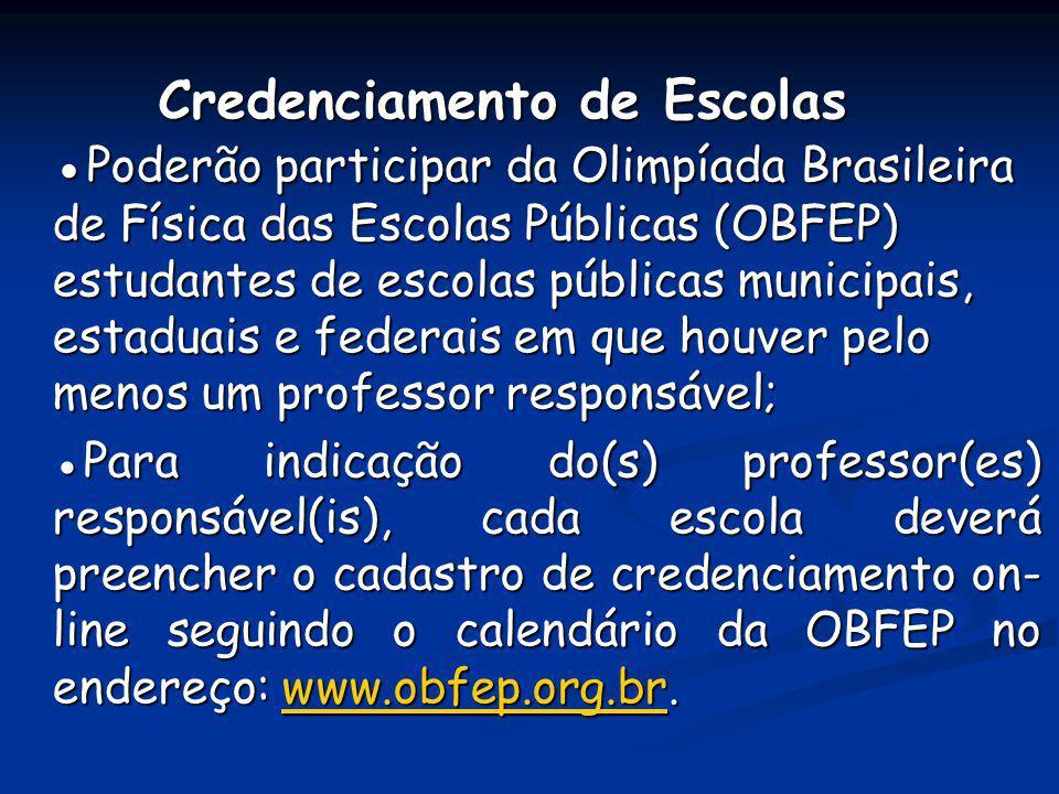 Credenciamento de Escolas Poderão participar da Olimpíada Brasileira de Física das Escolas Públicas (OBFEP) estudantes de escolas públicas municipais,