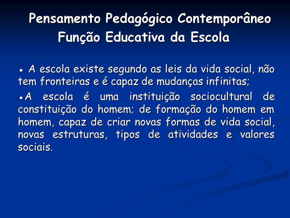 Pensamento Pedagógico Contemporâneo Pensamento Pedagógico Contemporâneo Função Educativa da Escola Função Educativa da Escola A escola existe segundo