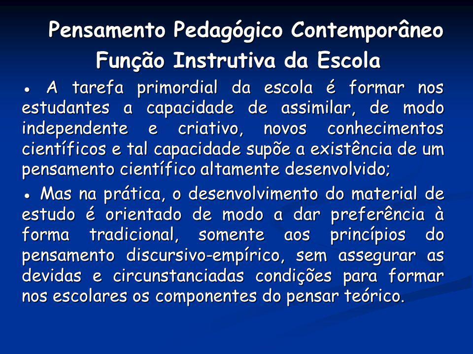 Pensamento Pedagógico Contemporâneo Pensamento Pedagógico Contemporâneo Função Instrutiva da Escola Função Instrutiva da Escola A tarefa primordial da