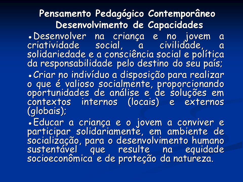 Pensamento Pedagógico Contemporâneo Pensamento Pedagógico Contemporâneo Desenvolvimento de Capacidades Desenvolvimento de Capacidades Desenvolver na c