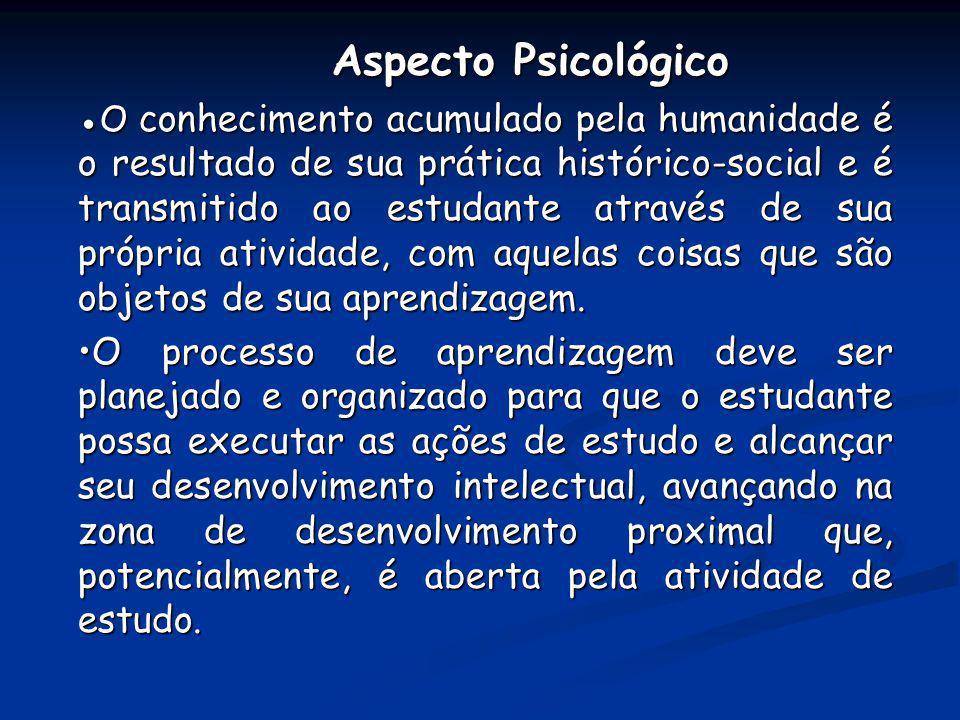 Aspecto Psicológico Aspecto Psicológico O conhecimento acumulado pela humanidade é o resultado de sua prática histórico-social e é transmitido ao estu