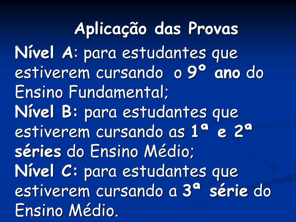 Aplicação das Provas Aplicação das Provas Nível A: para estudantes que estiverem cursando o 9º ano do Ensino Fundamental; Nível B: para estudantes que
