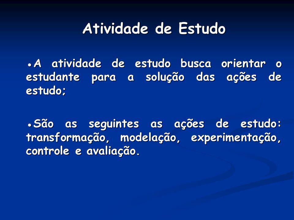 Atividade de Estudo A atividade de estudo busca orientar o estudante para a solução das ações de estudo; São as seguintes as ações de estudo: transfor