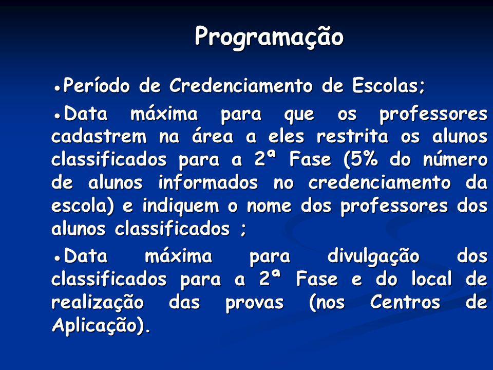 ProgramaçãoPeríodo de Credenciamento de Escolas; Data máxima para que os professores cadastrem na área a eles restrita os alunos classificados para a