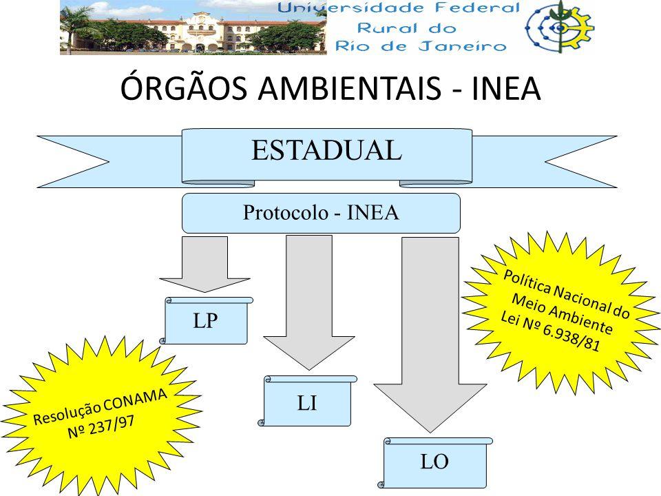 ÓRGÃOS AMBIENTAIS - INEA ESTADUAL Protocolo - INEA LI LO LP Resolução CONAMA Nº 237/97 Política Nacional do Meio Ambiente Lei Nº 6.938/81