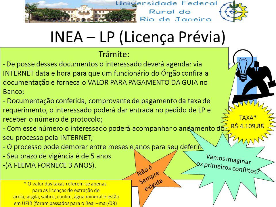 INEA – LP (Licença Prévia) Trâmite: - De posse desses documentos o interessado deverá agendar via INTERNET data e hora para que um funcionário do Órgã