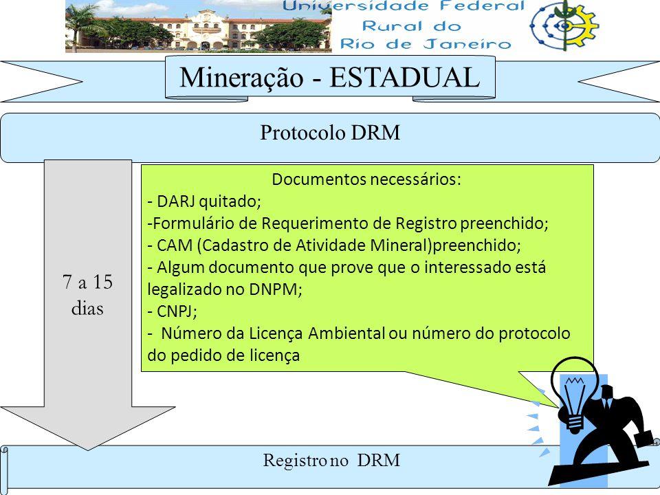 Protocolo DRM Mineração - ESTADUAL Registro no DRM 7 a 15 dias Documentos necessários: - DARJ quitado; -Formulário de Requerimento de Registro preench